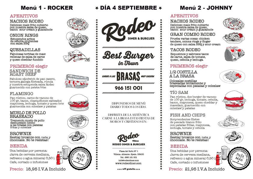 Menú Cena Día 4 de septiembre 2017