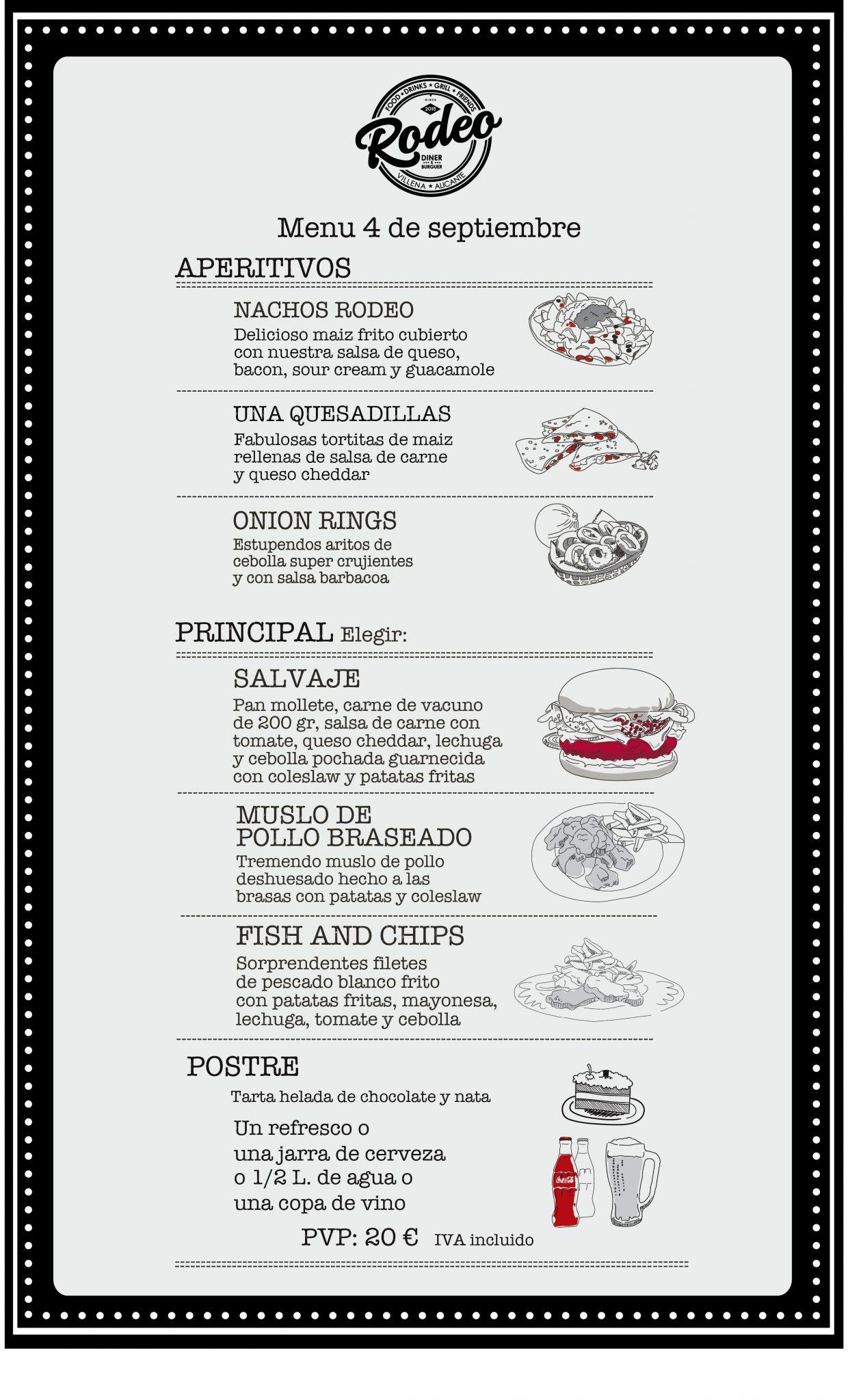 Menú Cena día 4 de septiembre en Rodeo Diner & Burger