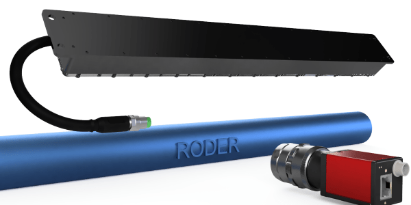 RODER vision application with linear camera and LED lighters on tubes and cables