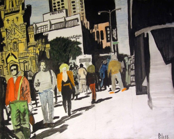 Chicago Watertower Life by Rodger Bliss Oil on Canvas