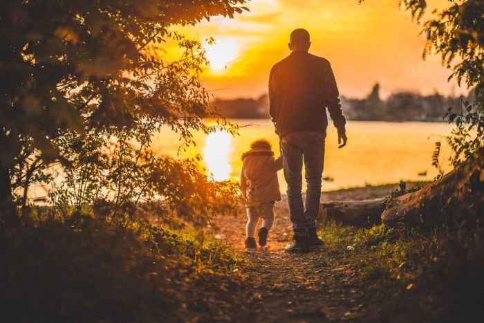 father, father and daughter, walking, sunset
