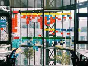 innovative looking office with notes pasted on window