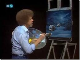 """Bob Ross with Classic White """"Fro"""" and dress shirt"""