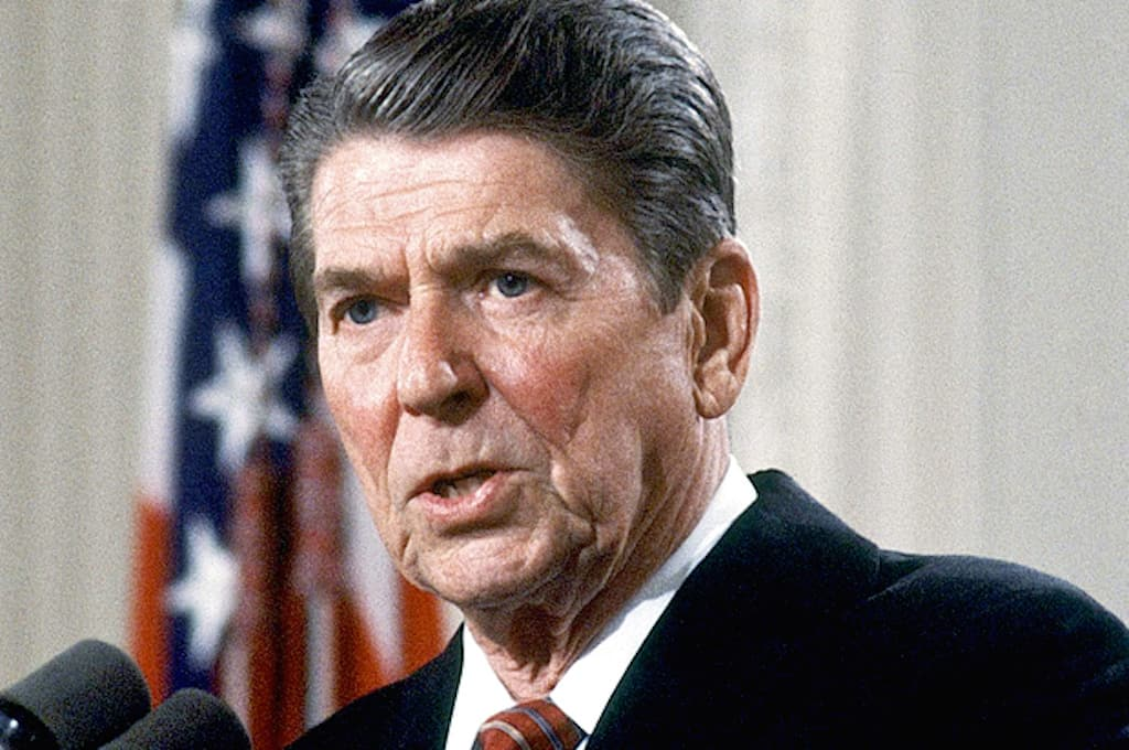 Photo shows President of U.S. Ronald Reagan, speaking. MS., in 1984. (AP Photo)