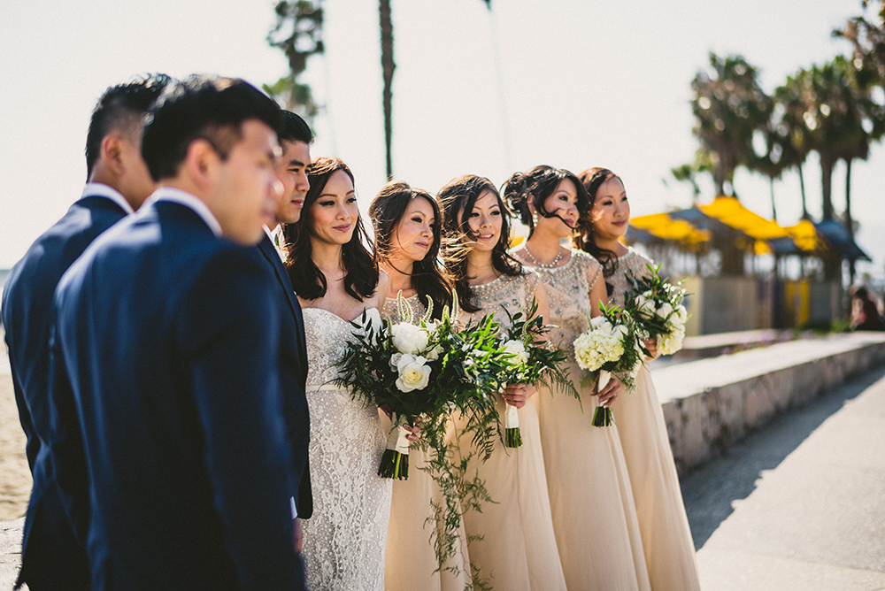 Santa Monica Beach Wedding Party Portraits