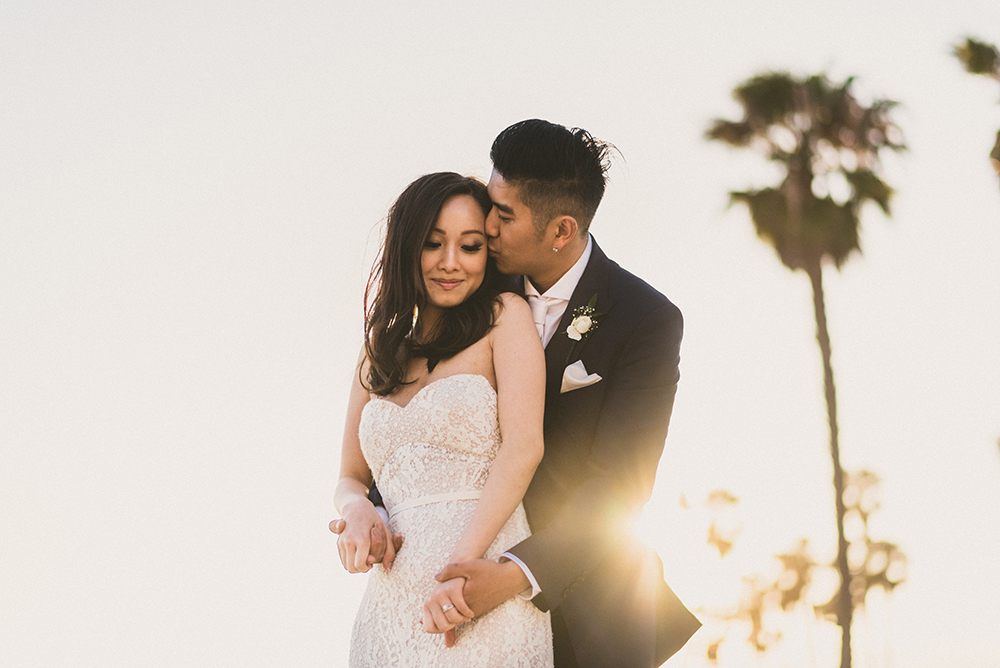 Sun Flare Santa monica wedding