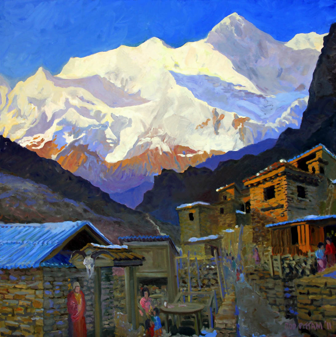 A Painting Of The 28000 Foot Peaks Of The Annapurnas In