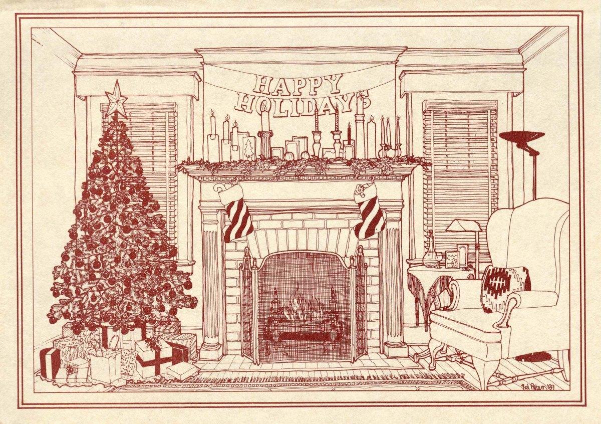 Historic Fireplace Illustration The 1989 Pittam Christmas