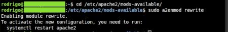 Habilitando o mod rewrite no servidor apache.