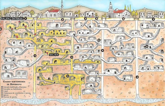 Mapa de Derinkuyu - Tourist map of Derinkuyu Underground City (en Español)