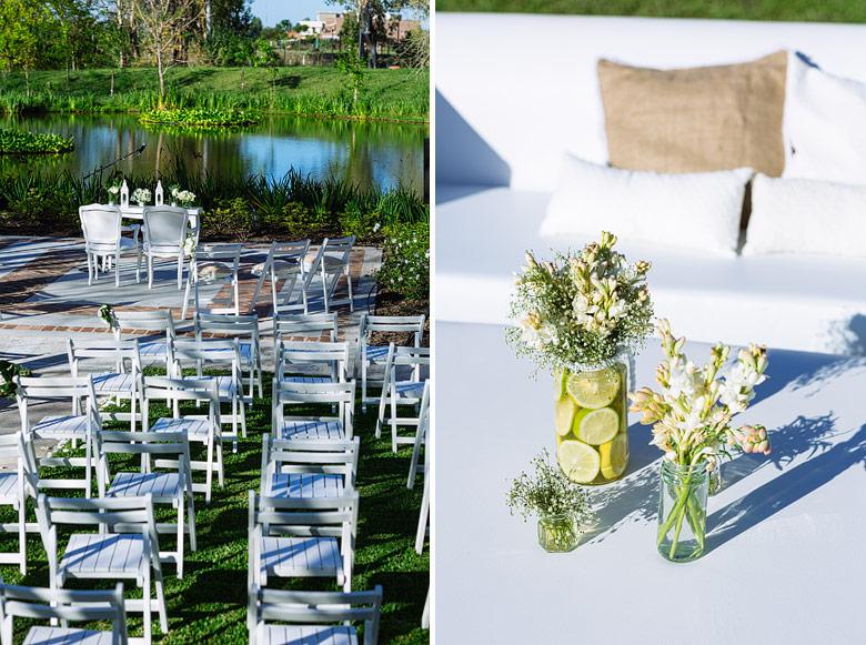 Ambientacion ceremonia y casamiento en astilleros milberg por Estilo Chic