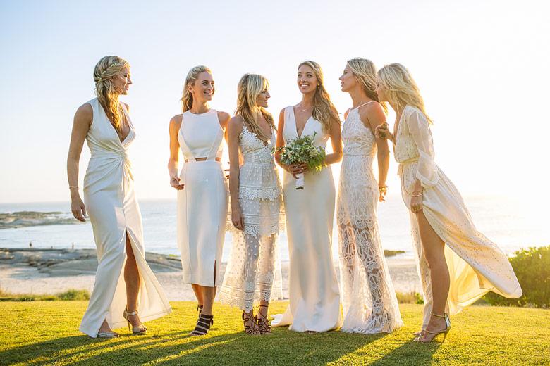 bride and bridemaids wedding dresses