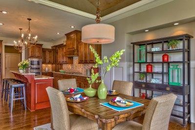 El Dorado breakfast area with red kitchen island