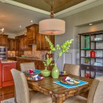 El Dorado breakfast area with red kitchen island