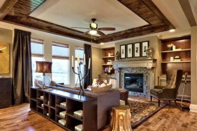 Larsen II great room with bead board ceiling trim