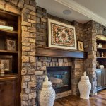 Lancaster III fireplace along a stone wall
