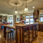 Lancaster III kitchen island with glass cabinet doors