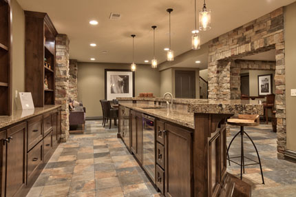 Detail of finished basement of the Larsen II model home