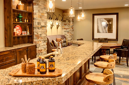 Granite topped bar in finished basement of larsen II model home