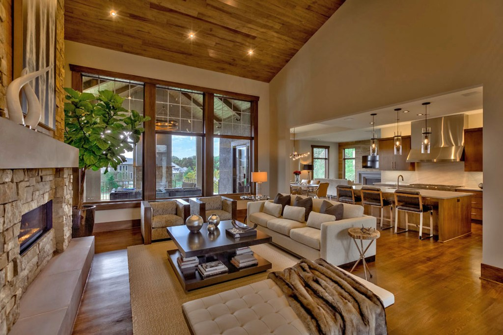 great room with hardwood ceiling