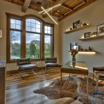 Barnwood ceiling in home office of custom home