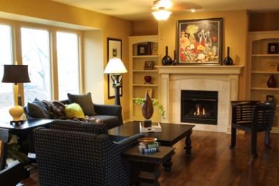 Tiffany great room fireplace and bookshelf