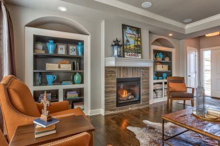 Great Room and fireplace of Weston III model home