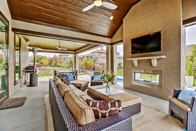 Outdoor living area from a Custom Build Job
