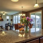 Destin kitchen island with view of great room