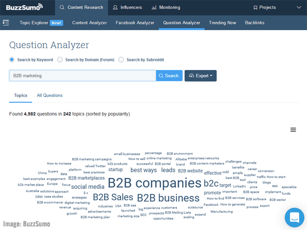 BuzzSumo Question Analyzer screenshot.