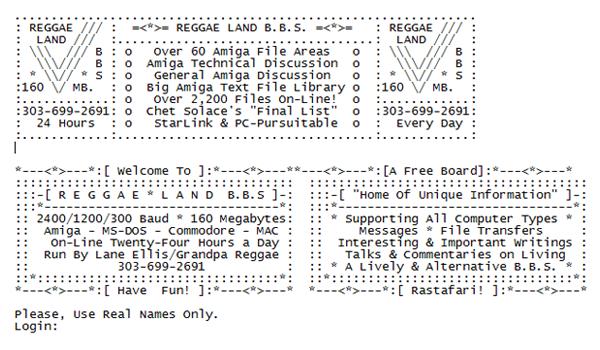 BBS Login Screen