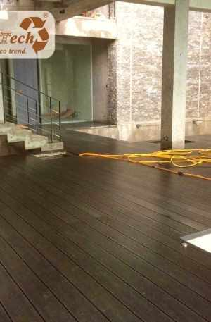 high-performance composite decking used on patios under decks