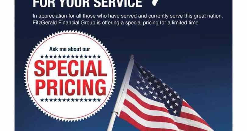 Debra Langbacka & Fitzgerald Financial Group has special pricing for Veteran's this month!