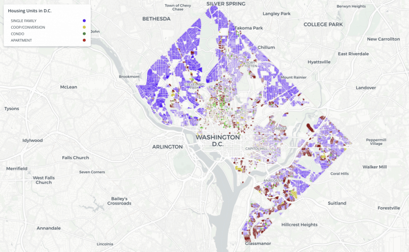 Map of Single family Housing units in the District of Columbia by Yesim Sayin Taylor