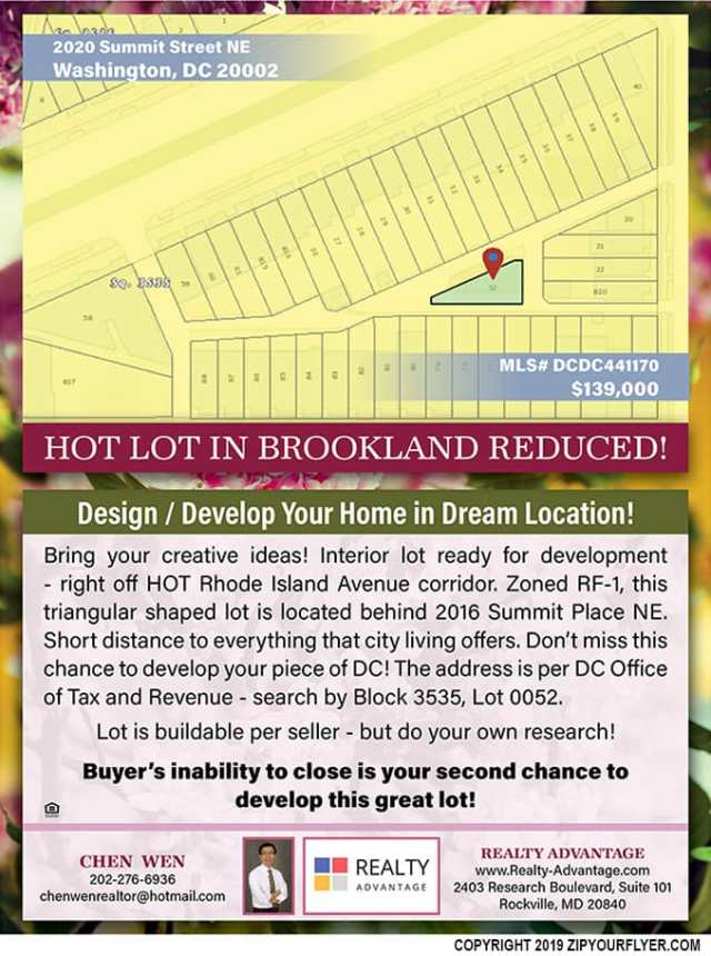 Hot Lots in Brookland, DC Area Reduced For Quick Sale
