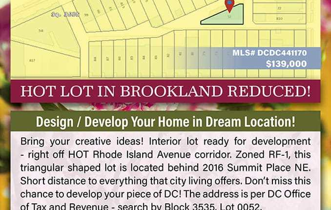 Premium Lot in Brookland, DC Area Reduced For Quick Sale