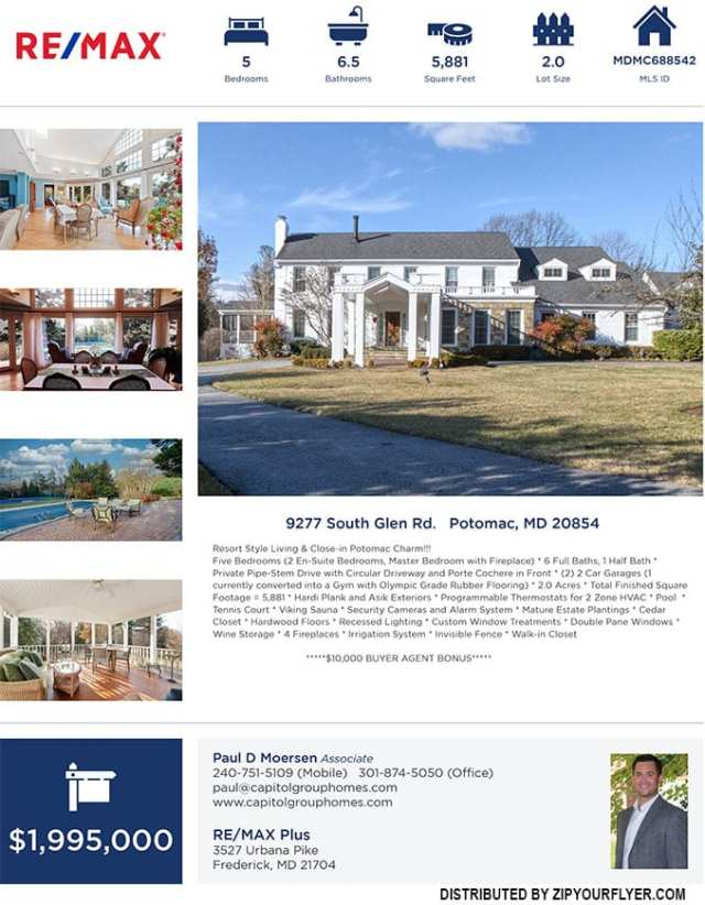 9277 South Glen Road, Potomac, MD 20854 Bonus Custom Home Sale