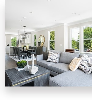 Living and Dining Rooms at The Townes at Grosvenor Place