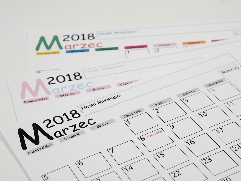 Kalendarz DIY MARZEC 2018- darmowy planner do druku.