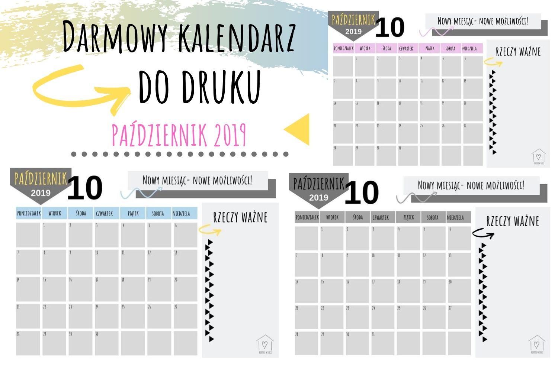 Kalendarz na Październik 2019- darmowe pliki do druku