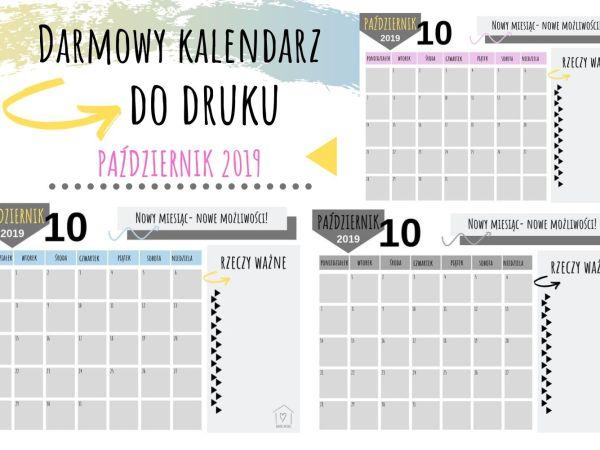 Darmowy kalendarz na PAŹDZIERNIK DO DRUKU
