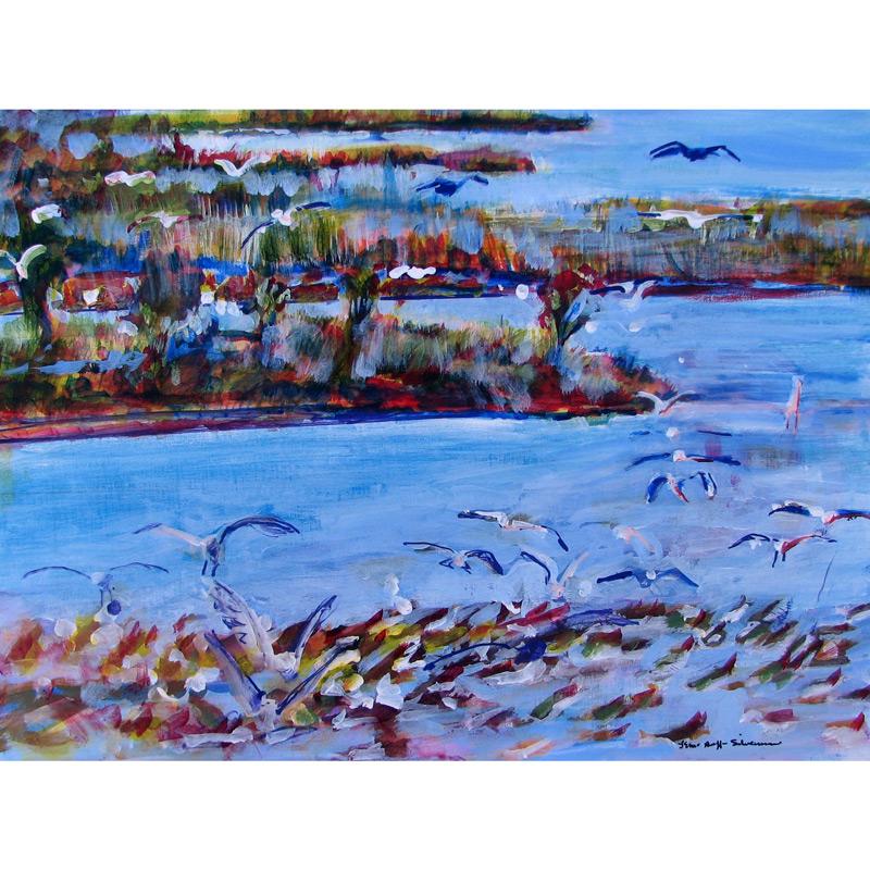 Birds in Flight-Salt Marsh