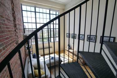 Looking through railing