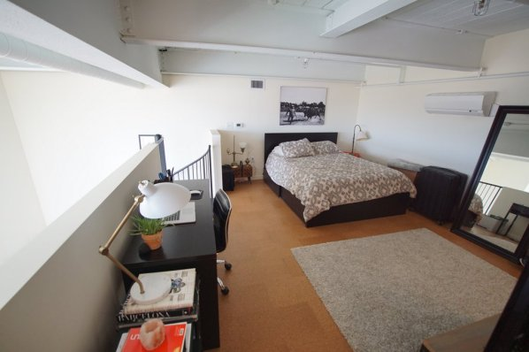 Roomy platform bedroom .
