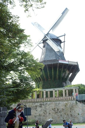 The windmill next to Sanssouci with a medieval musician. Or is it colonial era?