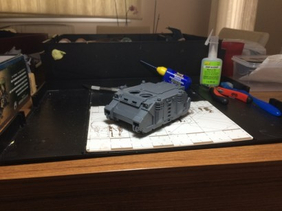 Dry-fit without the top details or tracks. A surprisingly good fit with little need for filling work for a model almost 10 years old!