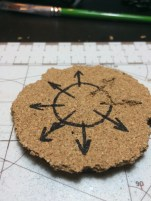 With a Sharpie I outlined a crude Chaos Star to begin with. Not too elegant, something perhaps a cultist would draw.