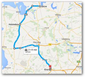 Tarteletruten fra Skive til Give = 146 km