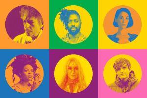 """Kunstnerne som deltager i """"Universal Love"""" projektet. Bob Dylan, Kele Okereke, St. Vincent, Valerie June, Kesha og Ben Gibbard."""