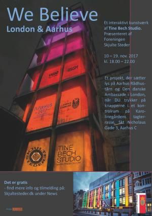 """We Believe er et et interaktivt og legende byrumsprojekt – også kaldet et """"Playable Cities"""" - udviklet af Tine Bech Studio i London. Projektet spænder over to byer - Aarhus og London."""